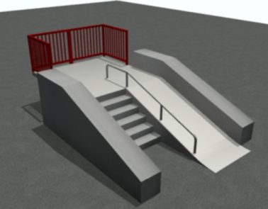 Skatepark Wedge Ramp/Stair Set With Double Planters